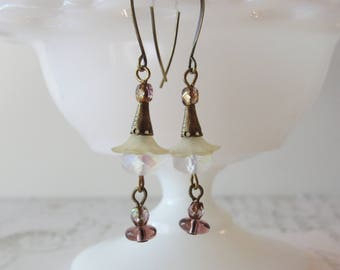 Faery Flower Dangles // Art Deco Earrings, Pastel