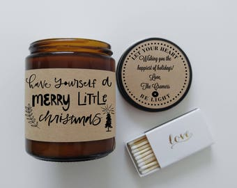 Corporate Gifts Christmas Gift Christmas Card Have Yourself A Merry Little Christmas Hostess Candle Gift Holiday Gift Personalized Candle