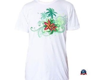 Palms and Plumeria 100% combed cotton T-shirt derived from a design by artist Misha.
