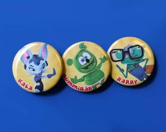 Gummibär & Friends: The Gummy Bear Show Button Set ~ Set of 3 ~ YouTube Series