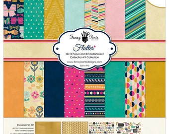 Fancy Pants Designs Flutter Collection Kit Scrapbook Papers and Stickers