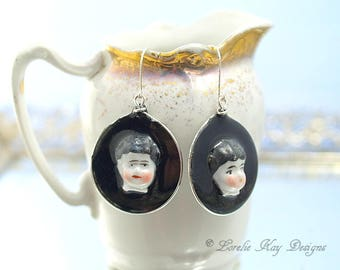 Frozen Charlotte Doll Head Earrings Tiny China Doll Hoop Resin Sterling Earrings Lorelie Kay Original