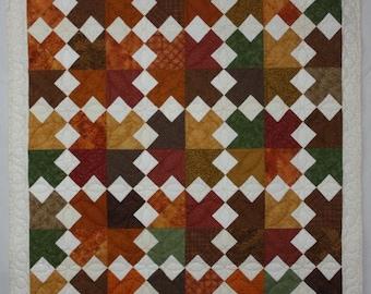 Brown Lap Quilt, Gold Lap Quilt, Modern Quilt, Southwestern Quilt, Lap Quilt, Patchwork Quilt, Q017 Desert Arrows