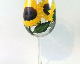 Hand Painted Sunflowers Wine Glass