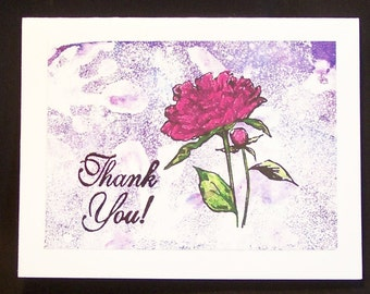 """Thank You Cards, Thank You Notes, Hand Embossed - Set of Two, 5 1/2"""" x 4 1/4"""" - Pink Carnation on Purple and White, Blank Note Card"""