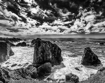 Black and White Photograph of California's Seaside Ruggid Coastline - Fine Art Black and White Print of California Coast and Cliffs