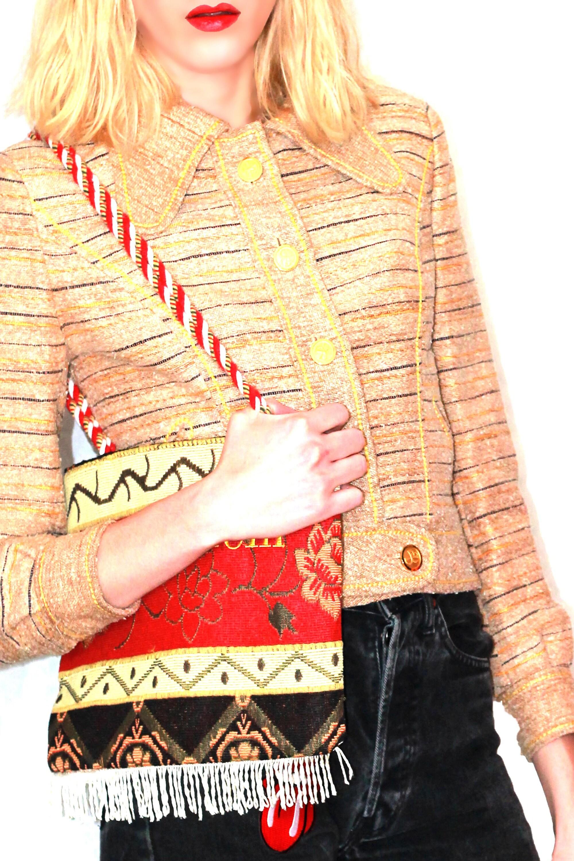 Cintrée Cintrée Cintrée Année Vintage Femme 1970 1970 1970 Courte Doré Beige Veste OAqpI8xwO