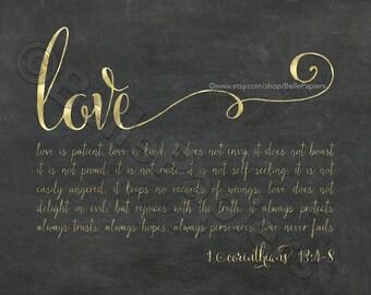 Calligraphy 1 Corinthians 13:4-8 Do Love Is Patient Love Is Kind Wedding Verse Love Scripture vows decor look of gold foil faux foil Bible