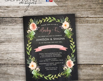 Rustic Baby-Q Baby Shower Invitation • Baby Shower BBQ Invitation • Chalkboard Co-Ed Baby Shower Invitation • Baby-Q Invitation