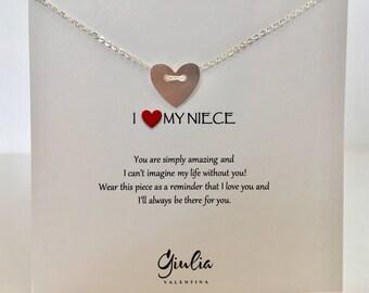 Gift for Niece - Dainty Heart neckalce - Heart necklace - niece gift - gift for niece - niece jewelry - niece  - heart button