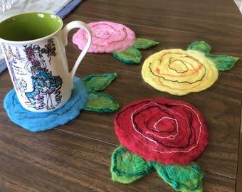 Set of 4 Felted Rose Coasters