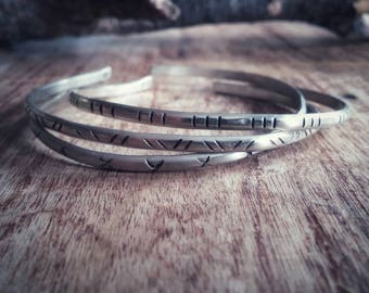 Silver bangle cuff. Rustic boho bracelet. Tribal jewelry.