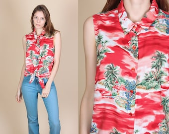 90s Hilo Hattie Hawaiian Top - Large // Vintage Red Tropical Button Up Aloha Tank Blouse