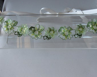 Green Lace Beaded Flower Halo Headband with Ivory Satin Ribbon Tie, for weddings, bridesmaid, parties, special occasions