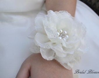 Ivory Chiffon Lace Flower Wrist Corsage & Boutonniere Set | Vintage Inspired Wedding | Elegant Wedding | Mother of the Bride | Prom