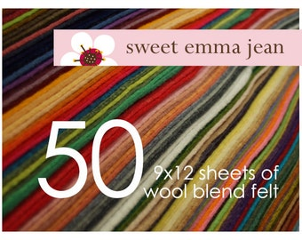 FELT - Wool Felt Sheets - Choose Any Fifty (50) - Wool Blend Felt