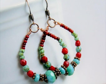 bohemian hoop earrings, boho jewelry, colorful, rustic jewelry, gift for her, under 20