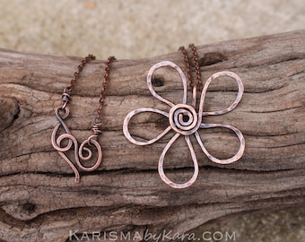Funky Flower Pendant. Copper. Textured. Oxidized. Wire Jewelry.