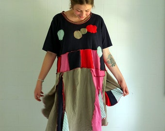 Anna Maria -  Wild Recycled Summer Dress - XL - individually made by kathrin k. -  OAK -  cotton