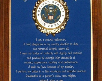 Custom USAF / United States Air Force Security Police / Security Forces - Patriotic Gift or Award