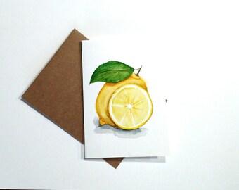 Watercolor Lemon Painting/ Lemon painting/ Artwork, Original Lemon wall art, lemon card 5 x 7, lemon kitchen decor