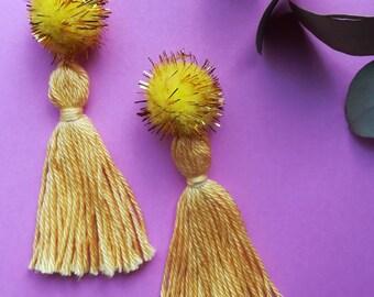 Yellow pom pom tassel earrings, yellow dangly earrings, statement earrings, gold earrings, festival style, gold glitter pompom earrings