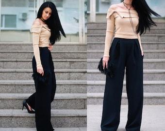 Wide Leg Pants /  High Waisted Pants / Women's Pants / Black Pants / Handmade Pants / Elegant Pants / Comfortable Pants