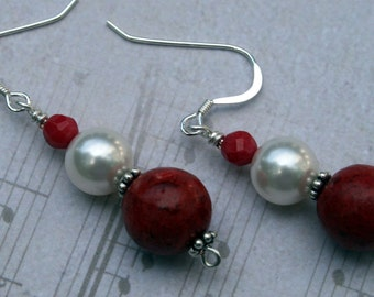 White Pearl and Red  Coral Sterling Silver Earrings