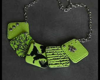 Lime green polymer Butterfly Necklace