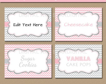 Printable Pink and Grey Candy Buffet Labels - Baby Shower Food Labels - EDITABLE Pink and Gray Chevron Candy Station Labels - Tent Cards BB1