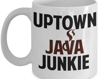 Uptown Java Junkie Coffee Mug Donut Shop Superior Donuts TV Doughnut Shop Inspired White Ceramic Coffee Mug