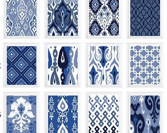 Ikat Navy White Indigo Blue Modern inspired wall art gallery - Choose Any (6) Wall Art Print -Custom colors and sizes available