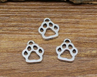 60pcs Antique Silver Dog Paw Charms Pendant 2 Sided 13x11mm C2250-Y