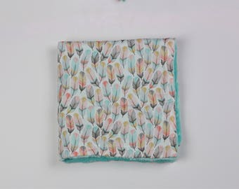 Delicate Feathers Security Blanket Lovie with Blue Minky Dot