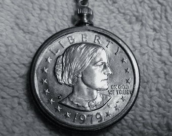 Susan B Anthony dollar Necklace with Bezel  Chain 14- 24 in long  jump rings,Lobster clasp