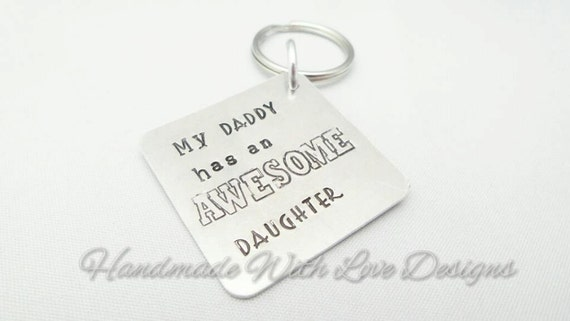 Awesome daughter Hand Stamped Keyring