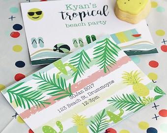 tropical birthday invitation