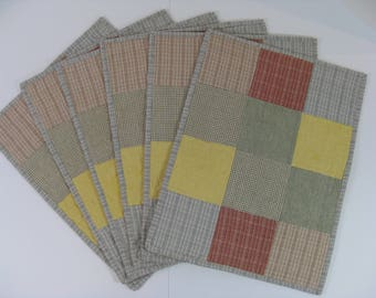 Quilted Patchwork  Placemats,  Homespun Placemats, Handmade Table Mats
