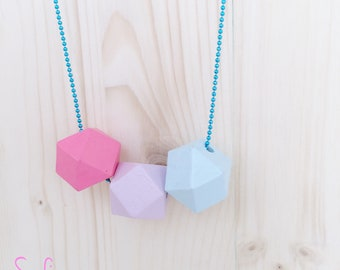 Necklaces with colored wooden stones 25 mm and aluminum chains