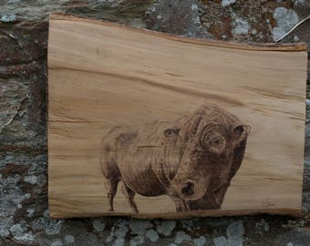"""Handcrafted original pyrography cow """"Harvey"""""""