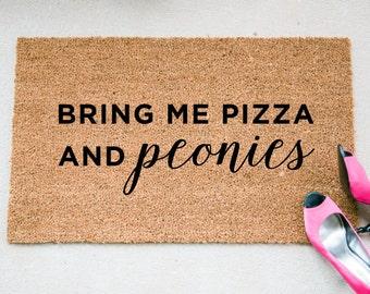 Bring Me Pizza & Peonies Doormat - Pizza Doormat - Peonies Doormat - Funny Doormat - Welcome Mat - Unique Doormat - Doormats - Doormat H