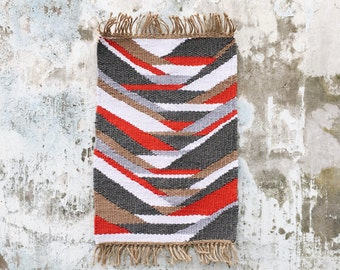 LOKA - Hand - OOAK - recycled cotton - organic hemp - 60 x 100 cm - Slowmade rug woven in France by two hands