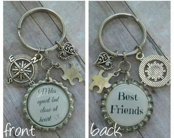 BFF Keychain - Best Friends Gift - Friends Keychain - Personalized Gift - Custom Keychain - Birthday Gift - Friend Gift