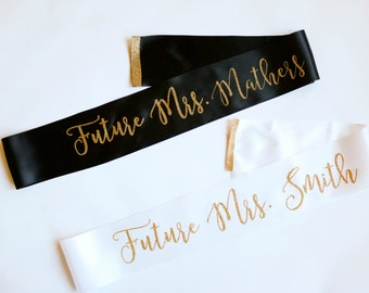Personalized Bachelorette or Bridal Shower Mrs. Bridal Sash in Glitter Text on Luxurious Satin Ribbon in Custom Color