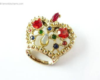 Vintage Crown Jewel Brooch Pin, Jewelry 1950s 1960s Mid-century, Mixed Rhinestone, Small Goldtone Gold