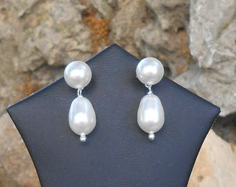 Swarovski earrings, 925 sterling silver, pearls swarovski crystal cream, women gift, wife birthday