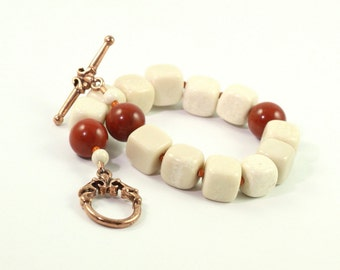 Cream Boho Bracelet Fall Earth Tones Deep Red Jasper Gemstone Rustic Woodland Fashion Beige Jewelry Copper Clasp