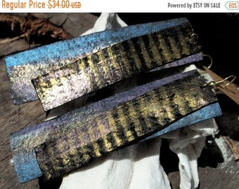 On Sale Blue Gold Purple Painted Glittered Leather Rectangle Earrings