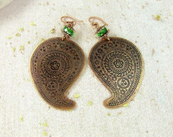 Copper earrings paisley, Indian style
