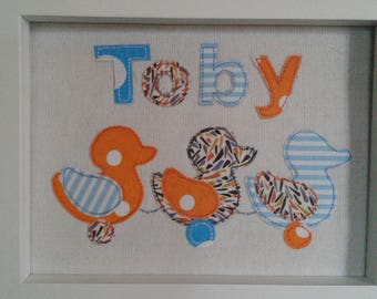 Pretty Personalised Baby Art Textile Picture